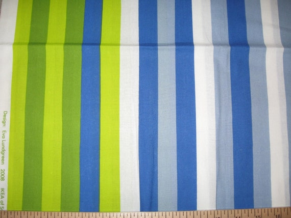 Ikea Godmorgon Cabinet Installation ~ Ikea Barnslig stripe fabric 1 yard green blue by DelishFabrics