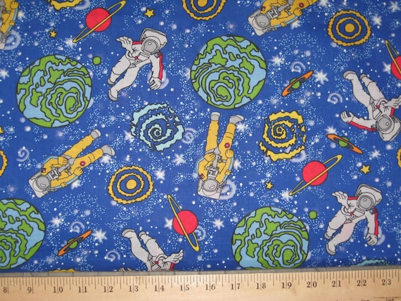 Outer space astronaut 1 yard cotton fabric for Space cotton fabric