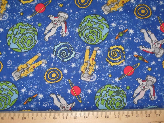 Outer space astronaut 1 yard cotton fabric by delishfabrics for Outer space fabric by the yard