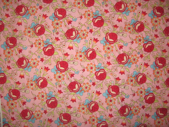 Alexander Henry Birch Blossom Floral on pink 1/2 yard