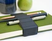 Journal Bandolier // black leather // (a better pencil case, journal pen holder, book strap, pen loop, pencil roll, pen bandolier)