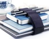 Adjustable Bandolier // navy leather // (a better pencil case, journal pen holder, book strap, pen loop, pencil roll, pen bandolier)