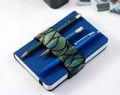 Mini Bandolier // green waves // (a better pencil case, journal pen holder, book strap, pen loop, pencil roll, pen bandolier)