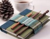 Journal Bandolier // pencil case alternative / / blue green stripes