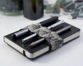 Mini Bandolier // pencil case book strap // black and white shells