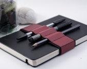 Journal Bandolier // red leather // (a better pencil case, journal pen holder, book strap, pen loop, pencil roll, pen bandolier)