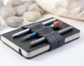 Mini Bandolier  // reclaimed rubber // (a better pencil case, journal pen holder, book strap, pen loop, pencil roll, pen bandolier)