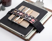 Adjustable Velcro Bandolier // black type // (a better pencil case, journal pen holder, book strap, pen loop, pencil roll, pen bandolier)