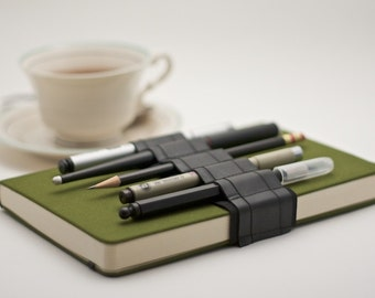 Journal Bandolier // a better pen holder // reclaimed rubber