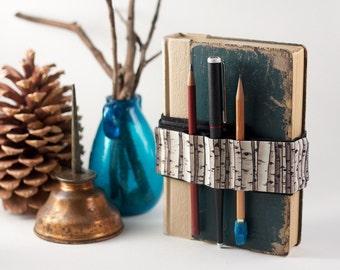 Adjustable Velcro Bandolier  // birch trees // (a better pencil case, journal pen holder, book strap, pen loop, pencil roll, pen bandolier)
