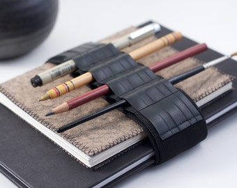 Adjustable Bandolier // reclaimed rubber // (a better pencil case, journal pen holder, book strap, pen loop, pencil roll, pen bandolier)