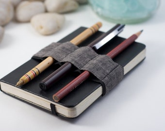 Mini Bandolier // dark linen // (a better pencil case, journal pen holder, book strap, pen loop, pencil roll, pen bandolier)