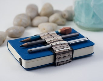 Mini Bandolier // birches // (a better pencil case, journal pen holder, book strap, pen loop, pencil roll, pen bandolier)