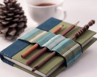 Journal Bandolier // blue green stripes // (a better pencil case, journal pen holder, book strap, pen loop, pencil roll, pen bandolier)