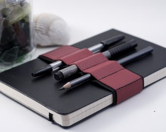 Journal Bandolier // red leather // (a better pencil case, journal pen holder, book strap, pen loop, pencil roll, pen bandolier)