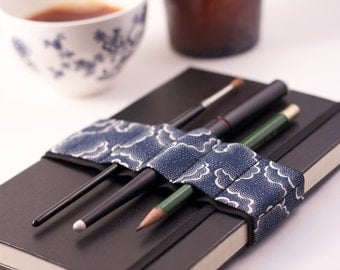 Journal Bandolier // alt pencil case // navy tempest