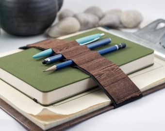 Pencil case alternative // woodgrain // (a better pencil case, journal pen holder, book strap, pen loop, pencil roll, pen bandolier)