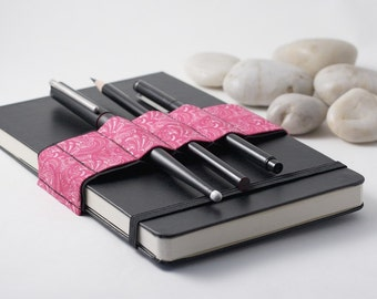 Journal Bandolier // pink doodle // (a better pencil case, journal pen holder, book strap, pen loop, pencil roll, pen bandolier)