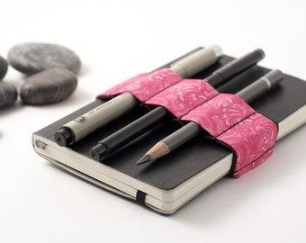 Mini Bandolier  // pink doodle // (a better pencil case, journal pen holder, book strap, pen loop, pencil roll, pen bandolier)