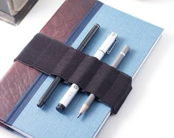 Journal Bandolier // basic black // (a better pencil case, journal pen holder, book strap, pen loop, pencil roll, pen bandolier)