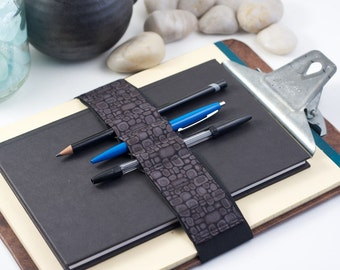 Large Journal Bandolier // grey pods // (a better pencil case, journal pen holder, book strap, pen loop, pencil roll, pen bandolier)