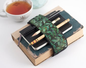 Adjustable Velcro Bandolier // batik vines // (a better pencil case, journal pen holder, book strap, pen loop, pencil roll, pen bandolier)