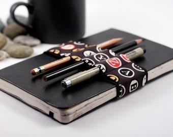 Journal Bandolier // black type // (a better pencil case, journal pen holder, book strap, pen loop, pencil roll, pen bandolier)