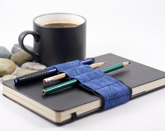Journal Bandolier // blue wave // (a better pencil case, journal pen holder, book strap, pen loop, pencil roll, pen bandolier)