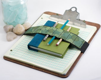 Large Journal Bandolier // vertigreen // (a better pencil case, journal pen holder, book strap, pen loop, pencil roll, pen bandolier)