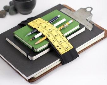 Adjustable Velcro Bandolier // yellow inches // (a better pencil case, journal pen holder, book strap, pen loop, pencil roll, pen bandolier)