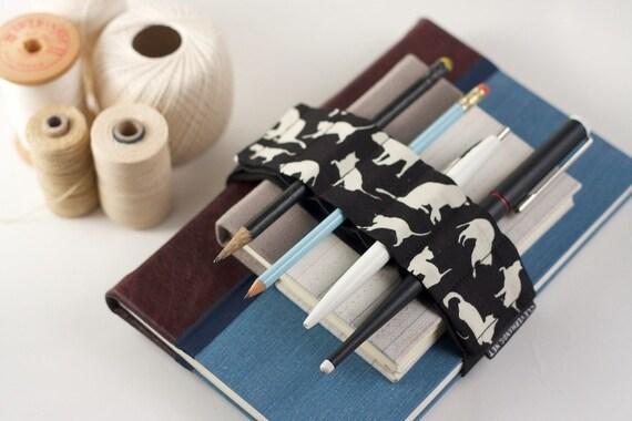 Adjustable Velcro Bandolier // cats // (a better pencil case, journal pen holder, book strap, pen loop, pencil roll, pen bandolier)