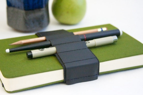 Journal Bandolier // black leather // (a better pencil case, journal pen holder, book strap, pen loop, pencil roll, pen bandolier)