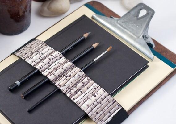 Large Journal Bandolier // birches // (a better pencil case, clipboard pen holder, book strap, pen loop, pencil roll, pen bandolier)
