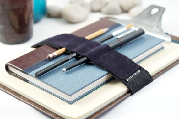 Large Journal Bandolier // navy blue leather // (a better pencil case, journal pen holder, book strap, pen loop, pencil roll, pen bandolier)