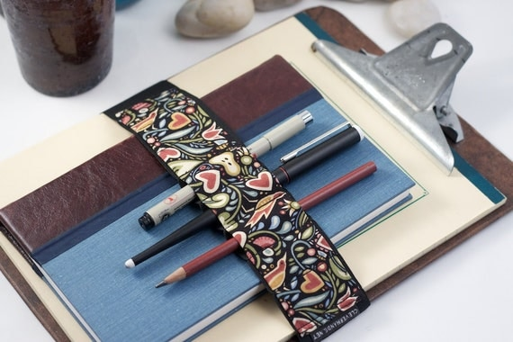 Large Journal Bandolier // birds & hearts // (a better pencil case, journal pen holder, book strap, pen loop, pencil roll, pen bandolier)