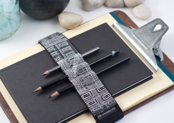 Large Journal Bandolier // black & white city (a better pencil case, journal pen holder, book strap, pen loop, pencil roll, pen bandolier)