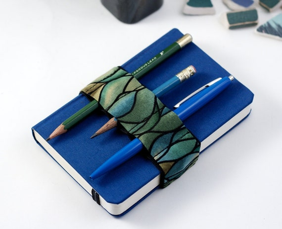 Mini Bandolier // green waves // (a better pencil case, journal pen holder, book strap, pen loop, pencil roll, pen bandolier)