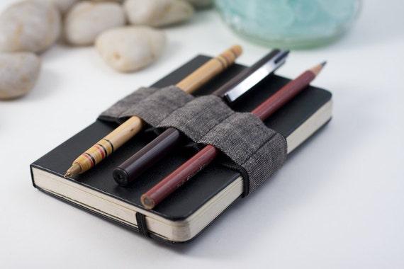 Mini Bandolier // dark linen // (a better pencil case, journal pen holder, book strap, pen loop, pencil roll, pen bandolier)