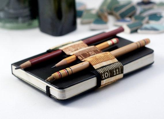 Mini Bandolier // earth tone ruler // (a better pencil case, journal pen holder, book strap, pen loop, pencil roll, pen bandolier)
