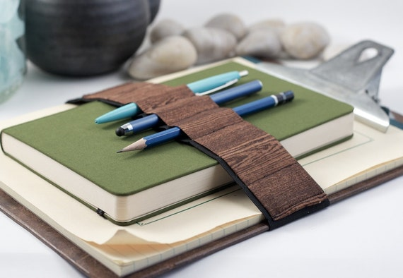 Pencil case alternative // woodgrain // (a better pencil case, journal pen holder, book strap, pen loop, pencil roll, pen bandolier)