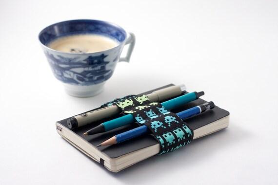 Mini Bandolier  // space invaders // (a better pencil case, journal pen holder, book strap, pen loop, pencil roll, pen bandolier)