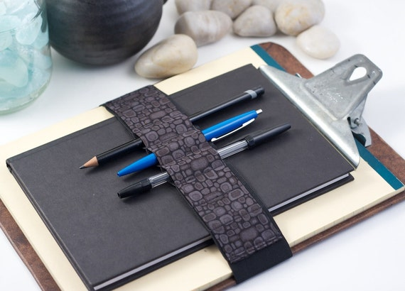 Large Journal Bandolier // alt pencil case // grey pods