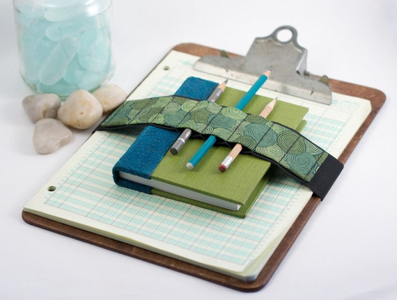 Large Journal Bandolier // vertigreen // (a better pencil case, journal pen holder, book strap, pen loop, pencil roll, pen bandolier)