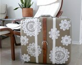 Leather and Lace Vintage Suitcase - Upcycled Design, Clearance Sale