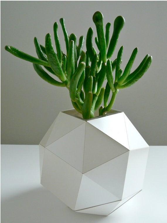 Pearl Polyhedron Paper Vase - Origami Inspired Design