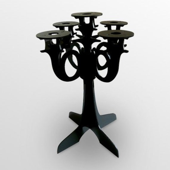 Black Acrylic Candelabra - Modern Lasercut Candle Holder - UrbanAnalog