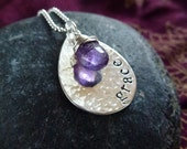 Personalized hand stamped sterling silver teardrop with wrapped amethyst stone