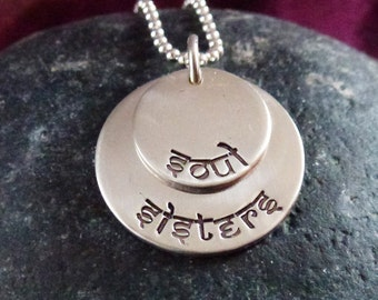 Personalized hand-stamped stacked sterling silver discs