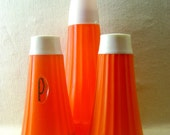 Orange Plastic Cruet Set - Salt, pepper and sauce