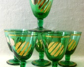 Green Sherry Glasses with Silver and Gold Designs x 6 - 20% Off Sale